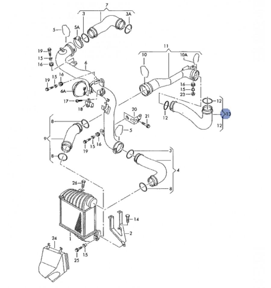 Schema Elettrico Golf 4 : Manicotto flessibile aspirazione intercooler vw golf iv tdi